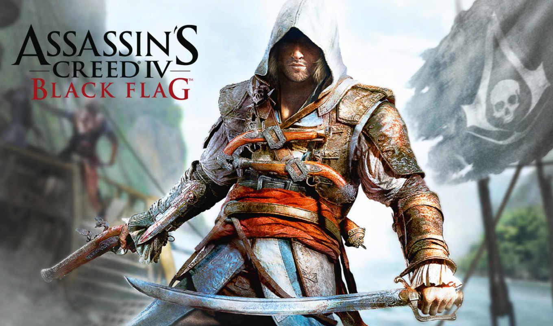 creed, assassin, black, флаг,