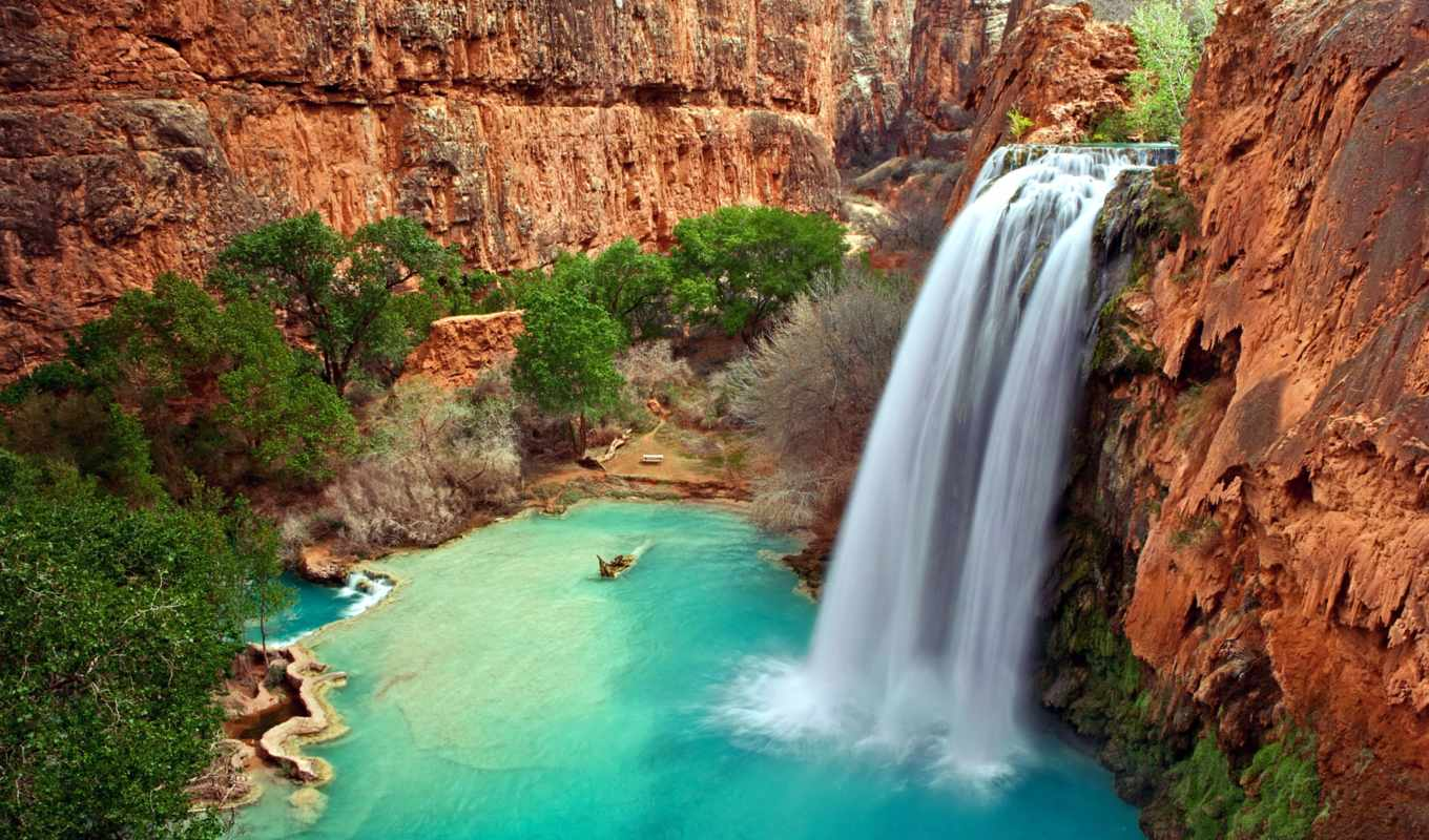водопад, природа, falls, world, havasupai, water, водопады, скалы, trees,