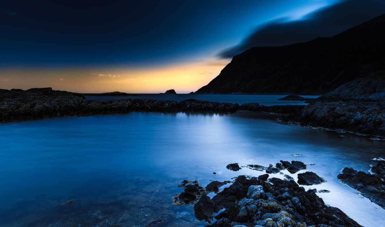 природа, blue, песочница, море, shirokoformatnyi, dark