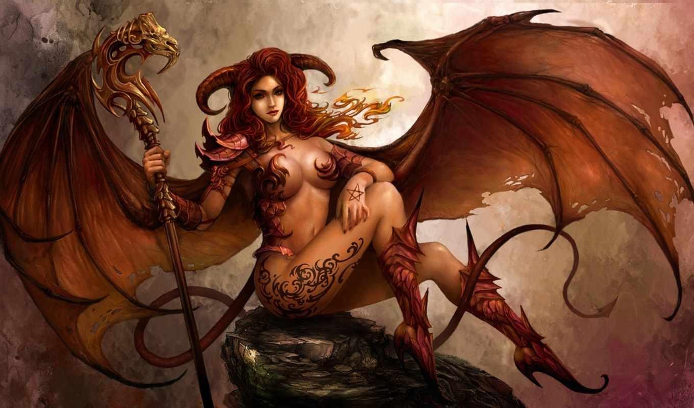girl, art, demon, арт, love, демоница, wings, is,
