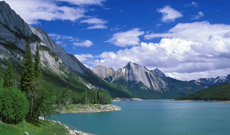 природа, lake, jasper, national, canada, горы, деревья, park, medicine, alberta, mountains, зжґ, priroda, пейзажи, free,