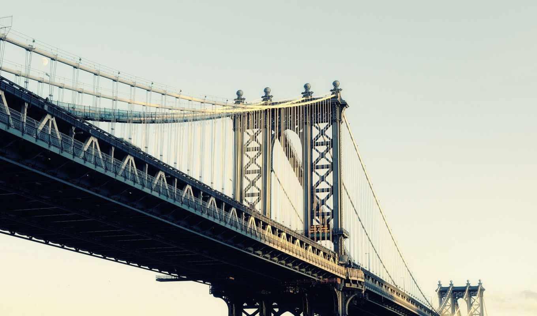 , city, new, bridge, manhattan, nyc, usa, moonrise,