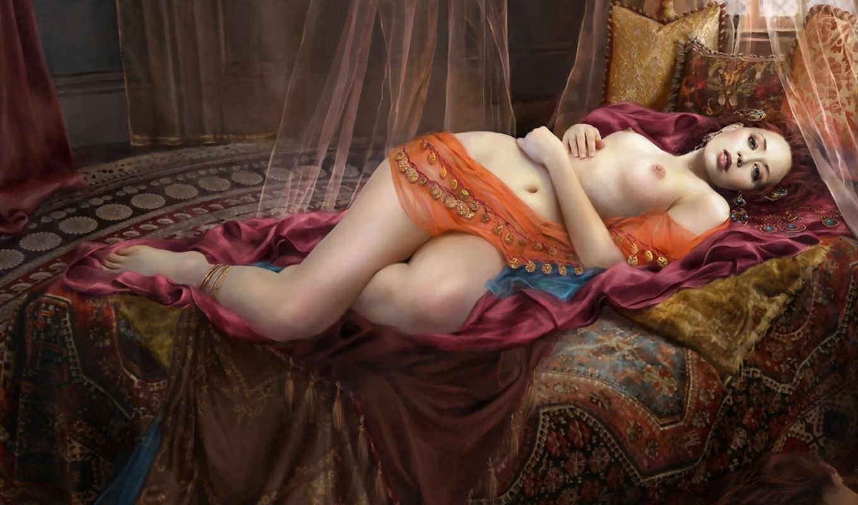 девушка, фэнтези, украшения, fantasy, кровать, обнажена, devushki, ковры,