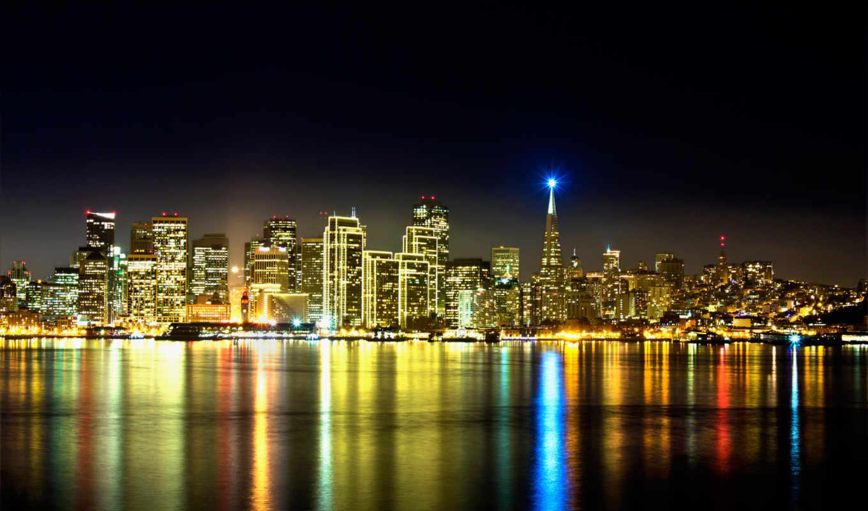 francisco, san, california, город, ночь, огни,