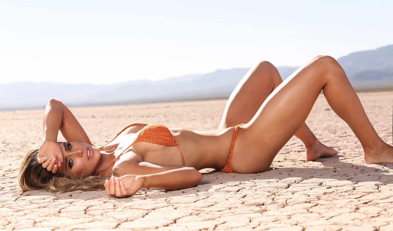 девушка, красивый, пляж, загорать, сексуальный, blonde