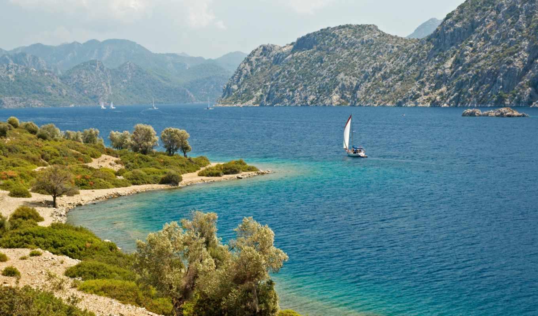 залив, берег, яхты, море, горы, солнце, растительность, mohammad, deme, ali,