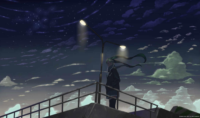 hatsune, аниме, изображение, чтобы, picsfab, больно, категория, фабрика, просто, то, обидно, наушники, miku, vol, miu, original, небо, night, vocaloid, картинок, изображения, future, views, елена, ага