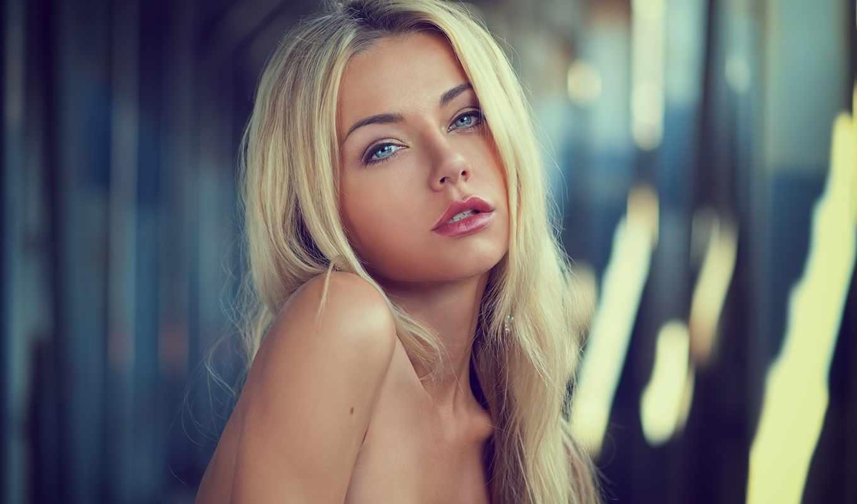 девушка, блондинка, фокус, печаль