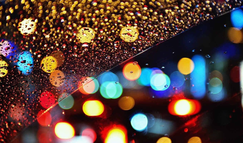 огни, ночь, дождь, боке, капли, glass,