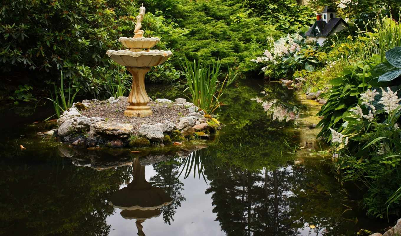 garden, fountain, desktop, природа, цветы, you,
