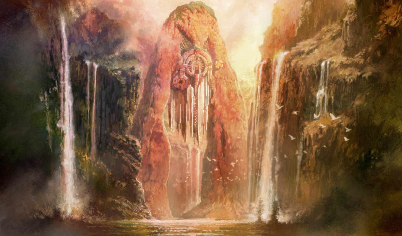 пейзажи -, fantasy, art, оружие, водопад, landscape, природа, цветы, cosmos, птицы, праздники,