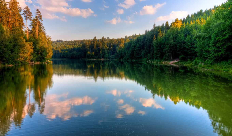 summer, природа, поле, реке, стилизация, отражение, рисунок, тематика,