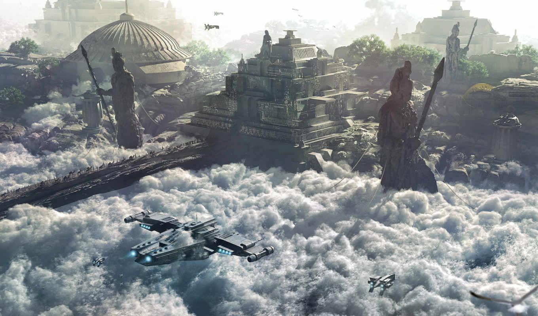 art, city, building, фэнтези, view, tags, artwork, science, fiction, similar, clouds, sculpture, ships, journey, atreidae, finnian,
