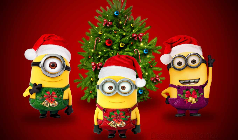 minions, christmas, iphone, миньон, санта, миньоны, нов, год, марика, new, xmas, cute, design,