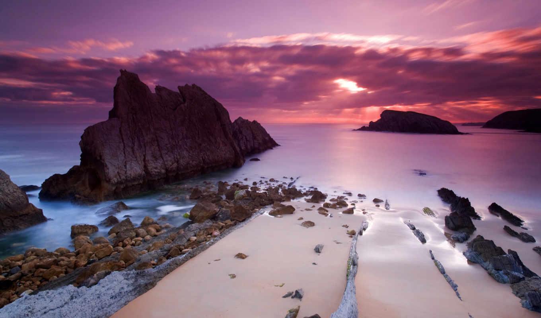 закат, море, розовый, скалы, ocean, природа, совершенно, благодарю, категория,