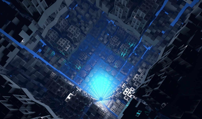 свет, серый, тунель, синий, tech, tower, бездна, блоков,