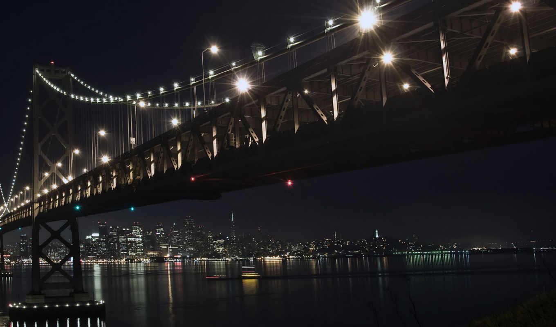 мост, ночь, город, зима, декабрь, bay, ночью,