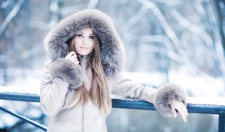 winter, девушка, капюшон, мех, взгляд, милая, красивая, глаза, картинка, ноутбук, smartphone, планшетный, установить, волосы, свое,