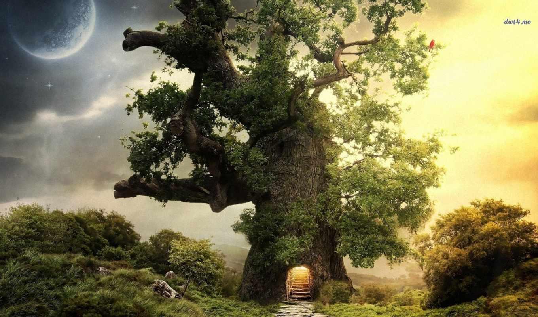 графика природа деревья горы дом  № 3243652 бесплатно