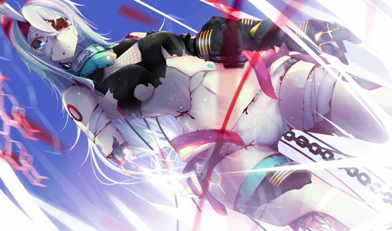 robot, девушка, art, механизм, бинты, кровь, цепь, anime, nmaaaaa,