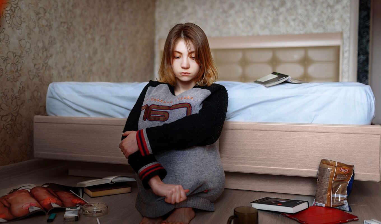 triste, влад, pantalla, девушка, кровать, sentado, cama, chica, soledad, книга, молодой