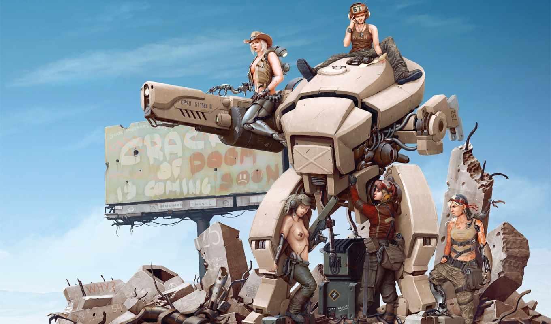 обои, робот, арт, девушки, руины, девушка, оружие,