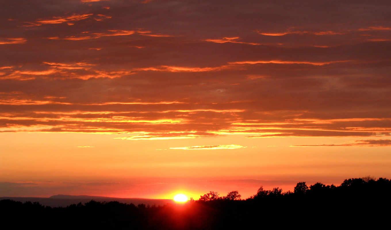 солнце, небо, sunset, nature, landscape, orange, hotwalls, изображения,