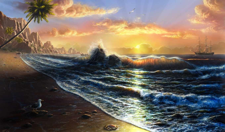 природа, art, digital, рисунки, красивые, пляж, landscape, пейзажи, photo, море, моря, artist, фантастические, картины, votes, paintings, картина, tahiti, берега, fel, далекие, feliks,