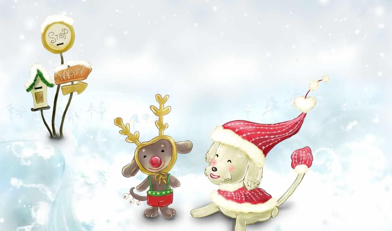 новый, год, зима, детство, снег, сказка, christmas, desktop, cute,