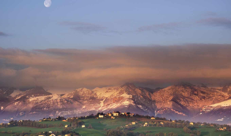 горы, луна, город, mist, дек, вечер, небо,