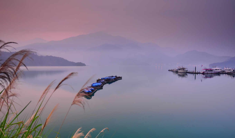 лодки, туман, landscape, foggy,