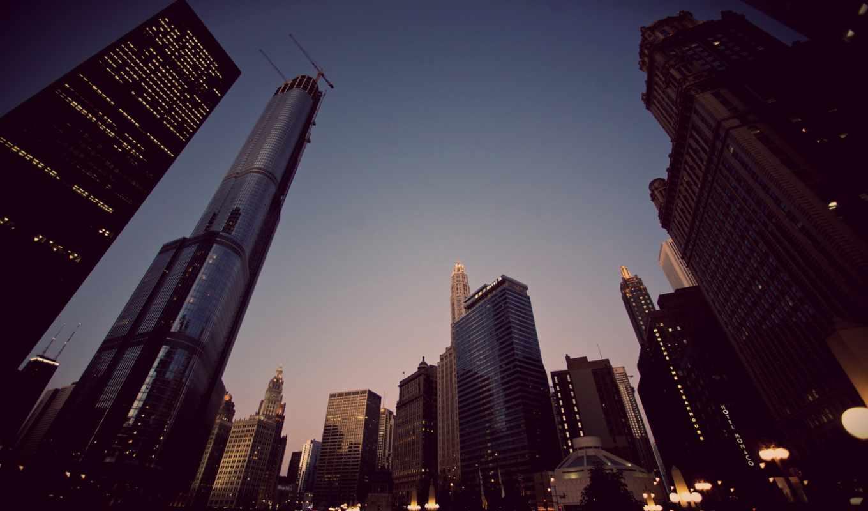 город, дома, высотки, небоскребы, картинка, вечер, небо, фонари,