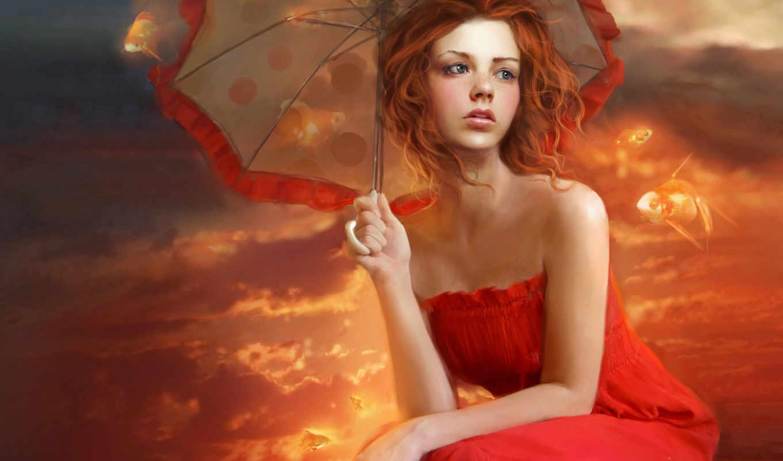 девушка, рыжая, рисунок, февр, красном, devushki, синяя,