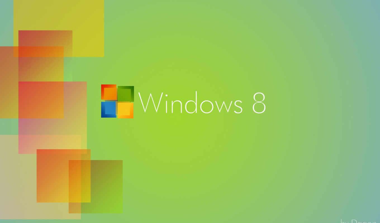windows, eight, лого, оранжевый, квадрат, зелёный