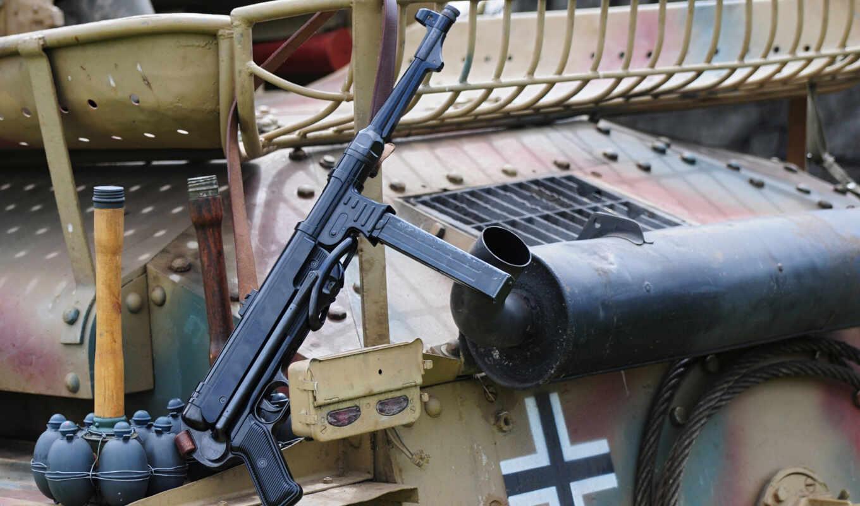 пистолет, пулемет, second, времён, world, войны,