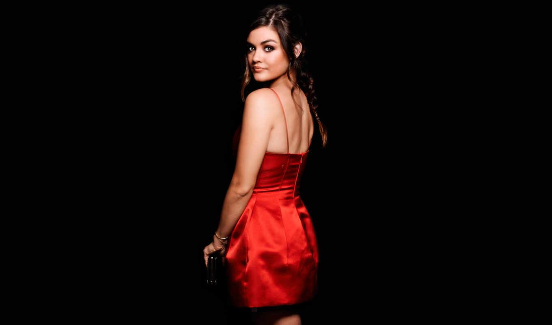девушка, платье, черном, fone, красном, спинои, стоит, картинка, devushki, красивая,