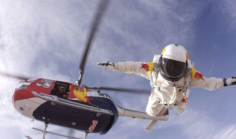 прыжок, объекты, вертолета, высоты, парашютом, вольтижировка, стратосферы, flytcam, прыжка,