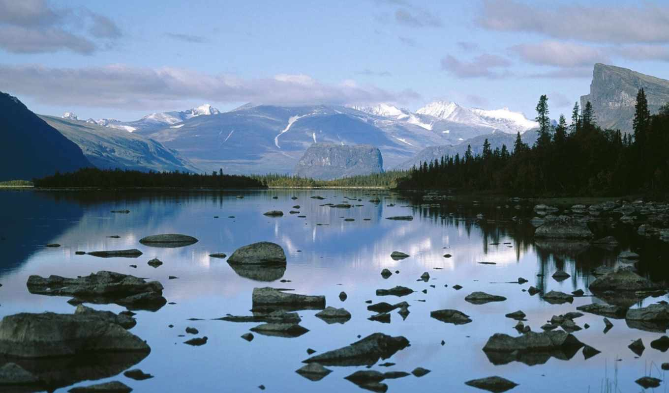 lake, national, sarek, laitaure, park, sweden, wal