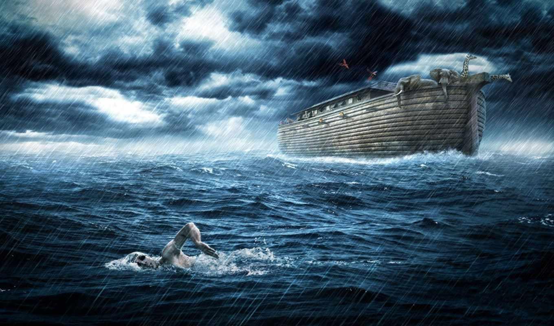 ковчег, потоп, звери, животные, всемирный, креатив, картинка, тучи, небо, дождь, спортсмен,
