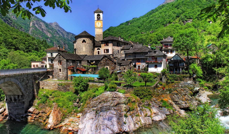ticino, lavertezzo, switzerland, города, houses, village,