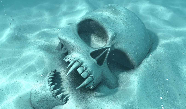 skull, underwater, lên,