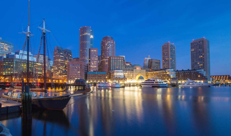 boston, bay, яхты, город,