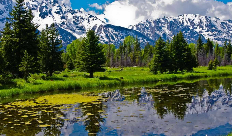уголками, пейзажи, река, завораживающие, лес, горы, rar, украшения, обоях,