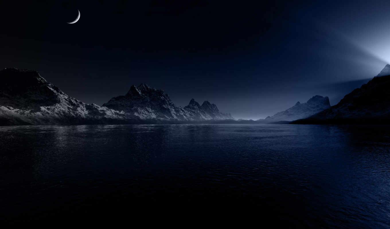 вода, ночь, свет, горы, снег,