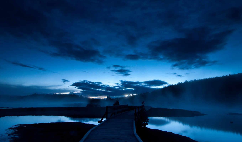 ночь, вода, синий, небо, лес, мост, темный, пейзаж, sunset, yellowstone, park, national,