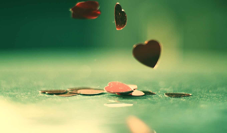 сердце, стол, падение, блеск