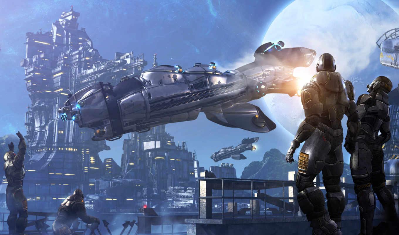 фантастика, космос, корабль, полет, луна, люди, sci,