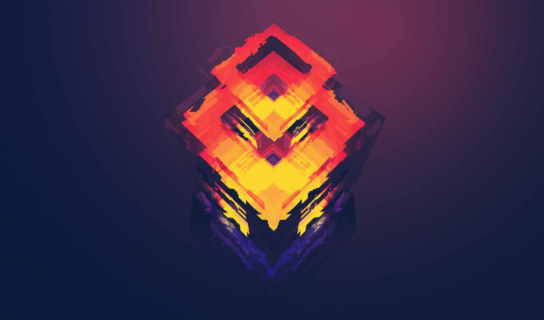 градиент, куб, треугольники, цвета, красный,