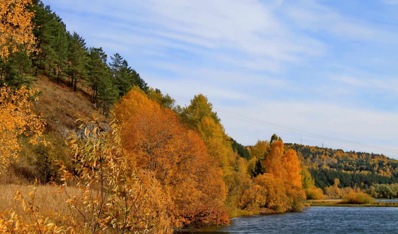 осень, природа, года, времена, деревья, трава, тропинка, реки, hintergrundbild, kostenlose, página,
