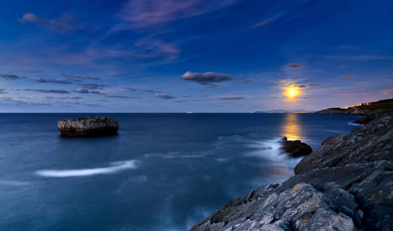 cielo, море, desktop, луна, high, free, качество,